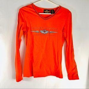Harley Davidson Orange 100 Years Motorcycle Shirt